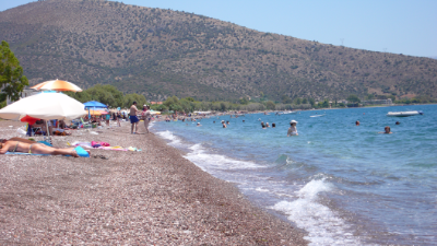 Kandia beach in the village